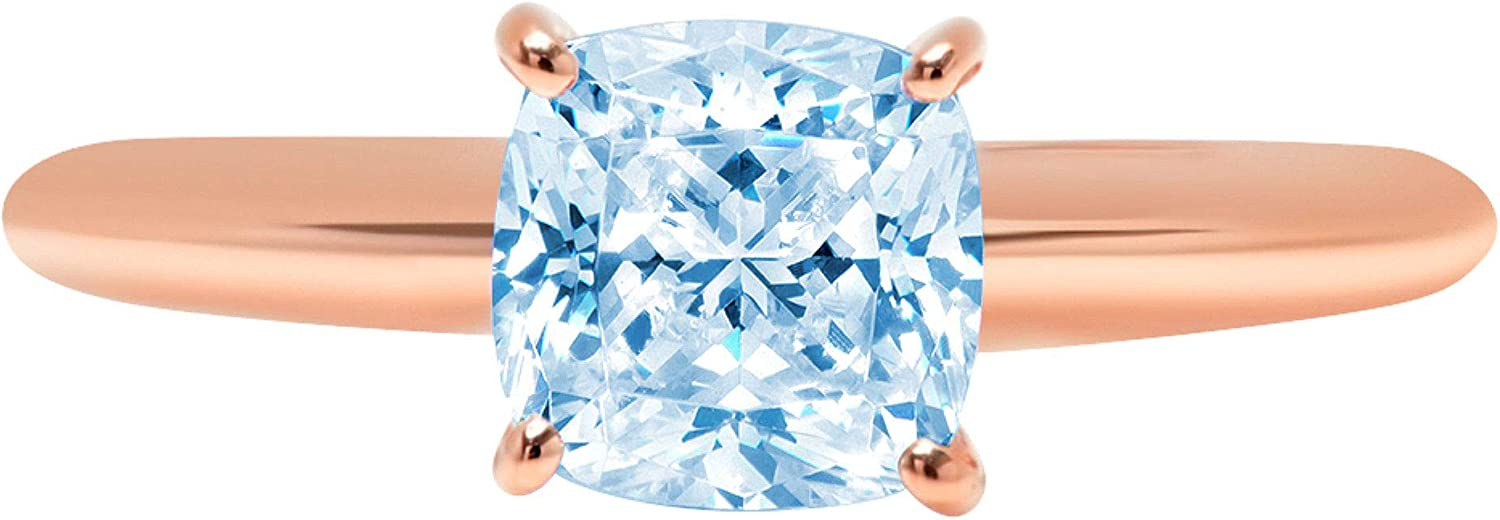 1.9ct Brilliant Cushion Cut Solitaire Natural Sky Blue Topaz Ideal VVS1 4-Prong Engagement Wedding Bridal Promise Anniversary Ring Solid 14k Rose Gold for Women