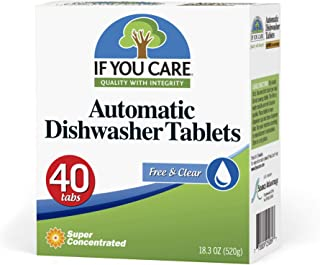 If You Care Dishwasher Tablets – 40 Count – Powerful, Plant Based, Concentrated, Biodegradable, Natural Dish Cleaner Deter...