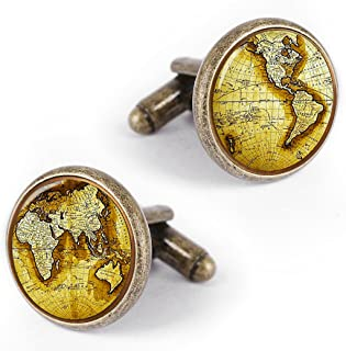 Kooer Bronze Vintage World Map Cufflinks Custom Personalized Map of The World Cuff Links for Men Gift