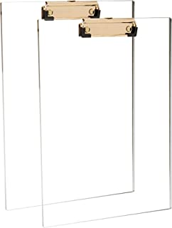 Clear Acrylic Clipboard with Gold Clip, Set 2-Pieces, Fits 9x12 inch - Letter Size Standard, Modern Design Desktop Station...