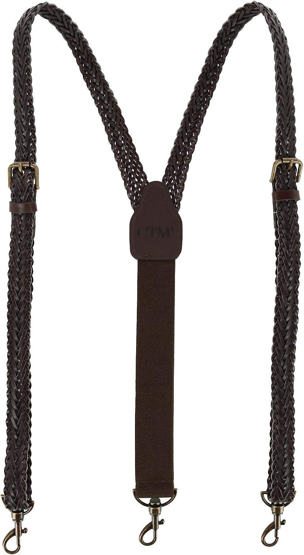 CTM Men's Coated Leather Single Braid Suspenders with Metal Swivel Hook Ends