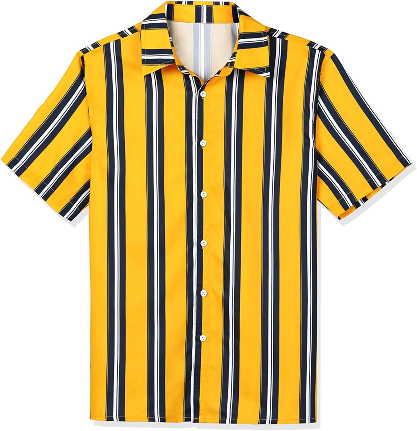 Excellent Lars Amadeus Men's Summer Striped New Shipping Free Shipping Button Do Sleeves Shirts Short