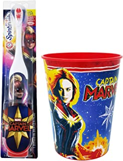 Captain Marvel Toothbrush Dental Kit: 2 Items - Spinbrush Powered Toothbrush, Kid's Character Rinse Cup
