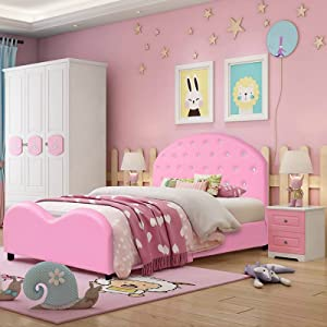 HONEY JOY Kids Twin Bed Frame with Headboard, Toddler Upholstered Platform Bed with Slatted Bed Base, No Box Spring Needed, Princess Wooden Single Bed for Baby Girls, Twin Size in Pink