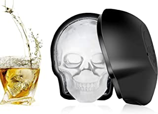 IEsafy Silicone Skull Mold Reusable Large 3D Skeleton Ice Cube Molds Trays for Whiskey Cocktails Bourbon Juice Beverages C...