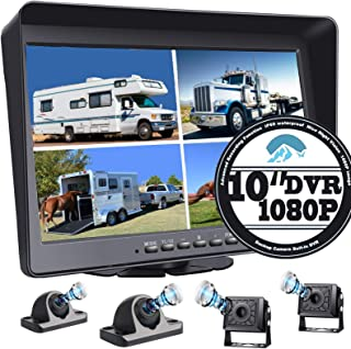 """$379 » RV Backup Camera 10.1"""" 1080P Monitor & Built-in DVR for Truck Trailer Rear Side Front Reversing View Wired System FHD Imag..."""