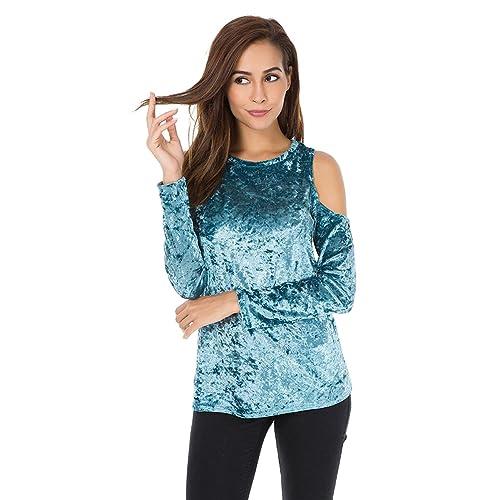 707eba1383dd89 Womens Velvet Cold Shoulder Sweatshirt Pullover Tops Long Sleeves Sweater  Loose Shirts Blouse
