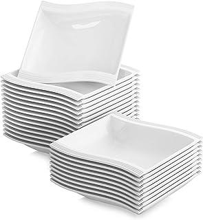 MALACASA Flora 24pcs Assiettes Creuse à Soupe Pâte en Porcelaine 21 * 22 * 4.5cm Service de Table Vaisselles Design Mode