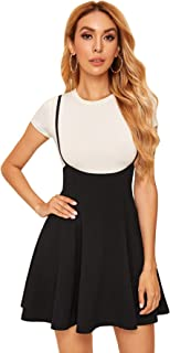 SheIn Women's Basic High Waist Flared Suspender Skirt Overall Dress Without Tee