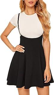 SheIn Women's Basic High Waist Flared Suspender Skirt Overall Dress Without Tee