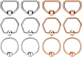 JFORYOU 12PCS 16G Surgical Steel Captive Bead Ring for Nose Septum Hoop Ear Tragus Cartilage Helix Piercing Lip Piercing Jewelry Rings 10mm
