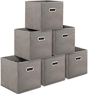 TomCare Storage Cubes Foldable Fabric Cube Storage Bins with Dual Metal Handles Cloth Storage Bins Cubes Baskets Containers for Home Shelves Closet Organizers Cubbies Cube Storage, 6 Pack, Grey