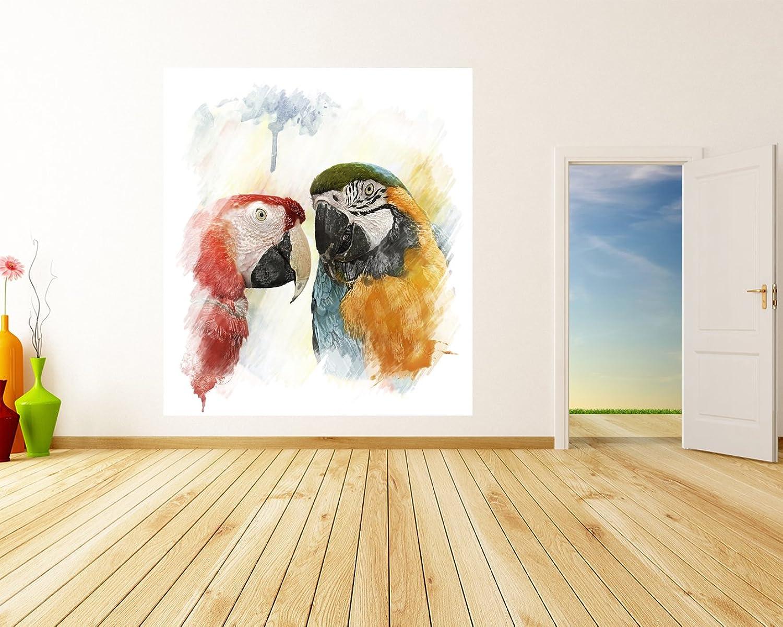 Selbstklebende Fototapete - Wasserfarbenbild - Papageien - 178x200 cm cm cm - Wandtapete – Poster – Dekoration – Wandbild – Wandposter - Bild – Wandbilder - Wanddeko B01IDIWO86 e73756