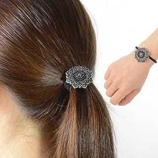Ponytail Holder Celtic Hair Tie –Viking Women's Hair Accessory Versatile Celtic Hair Tie Bracelet Yoga Inspired Om Lotus Mandala Flower Amulet Jewelry Hair Bands Up/down for Audlts/Kids/Girls (F-M)