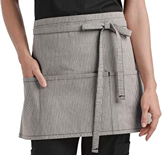 Ivory/Blue Waist Apron with 3 Pockets (Unisex Adult Sized) | Perfect for Chefs, Bakers, Home Kitchens, Restaurants, Servers, Uniforms, Gifts, Men, Women, Hobbyists, Professionals, and More