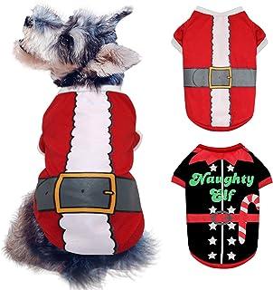BWOGUE 2 Pack Dog Christmas Shirts Pet Santa & Elf Costume Printed Puppy Shirts Pet Shirts Festive Christmas Themed Soft D...