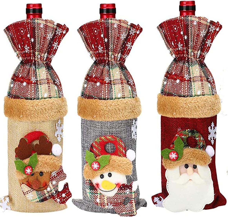 XJJY Vacaciones Navidad Botella de Vino Cubiertas/Bolsas Conjunto de 3 Santa Claus, Muñeco de Nieve y Reno Bolsas de Cordones Regalo de decoración de Navidad