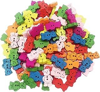 LoveinDIY 100Pcs Novelty Baby Buttons Animal Bear Crafts Button for Kids Children 20mm