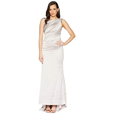 Laundry by Shelli Segal Satin Side Ruched Gown (Silver Grey) Women