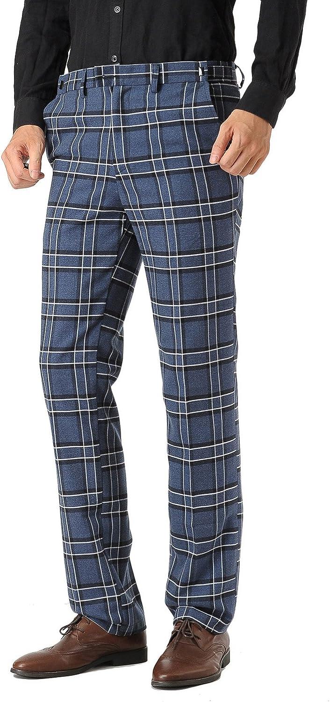Hanayome Men's Hidden Expandable Waist Lattic Casual Straight Long Suit Work Pants PT28 (Blue Plaid, 40W-32L)