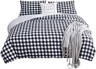 AYHome Duvet Cover King, Soft Black and White Checkered Duvet Cover Sets with Zipper Closure(Plaid,King)