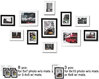 WOOD MEETS COLOR Picture Frames Set, Wall Gallery Collage Frames with Hanging Template, Photo Mats (Black and White)