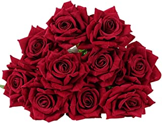 YSBER 10 Pcs Real Touch Silk Artificial Rose Flowers Silk Gluing PU Fake Flower Home Decorations for Wedding Party or Birthday Garden Bridal Bouquet Flower Saint Party Event(Dark red)