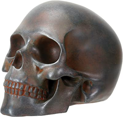 YTC Decorative Rust Colored Skull Head Skeleton Figurine Statue Display