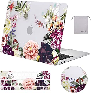 MOSISO MacBook Air 13 inch Case 2019 2018 Release A1932 with Retina Display,Plastic Pattern Hard Case & Keyboard Cover & Mouse Pad & Storage Bag Only Compatible with MacBook Air 13, Rose Leaves