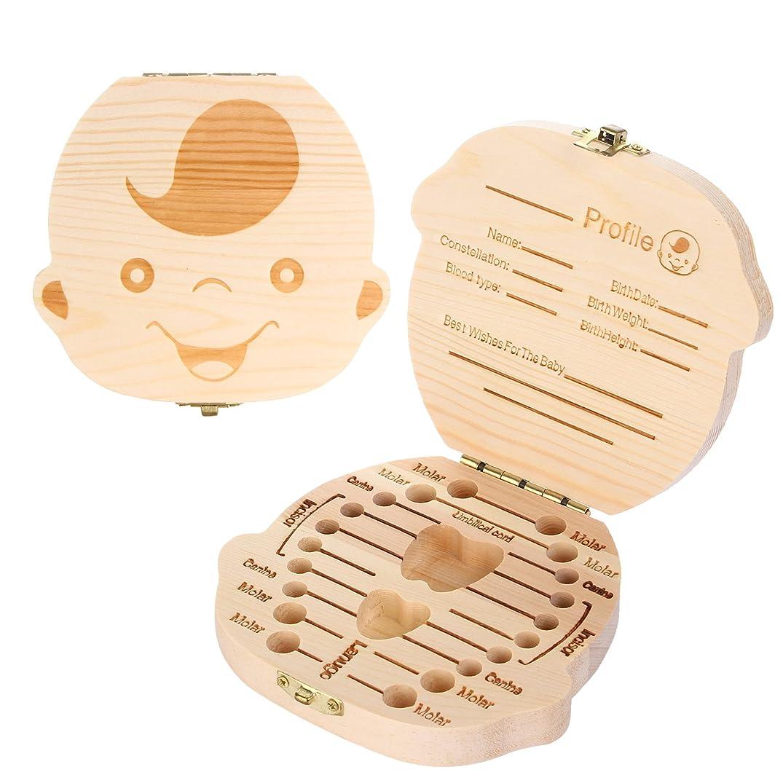 細分化するキャストの間にmoinkerin ベビー歯ボックス木製赤ちゃん成長記録ツール赤ちゃん成長記念品ベビーギフト Boy