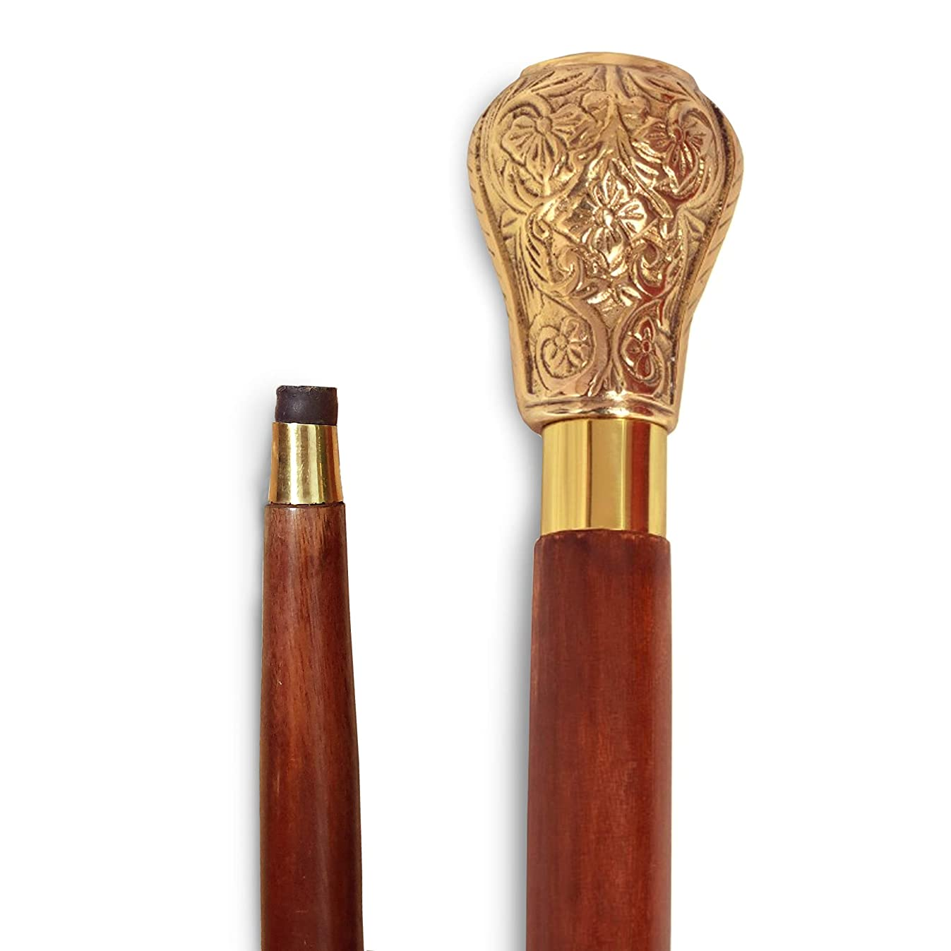 Lyptus Wood Walking Stick With Regal Brass Knob Handle, Brown And Gold
