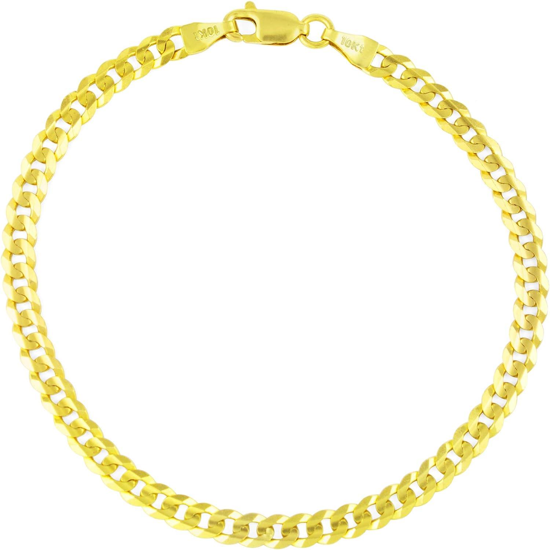 Nuragold 10k Yellow Gold 4.5mm Cuban Curb Link Chain Bracelet, W