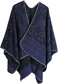 XueXian Geometric Printed Cape Blanket Poncho for Women Ladies Winter Spring