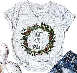 تي شيرت UNIQUEONE Merry and Bright Christmas نسائي قصير الأكمام برقبة على شكل حرف V كاجوال