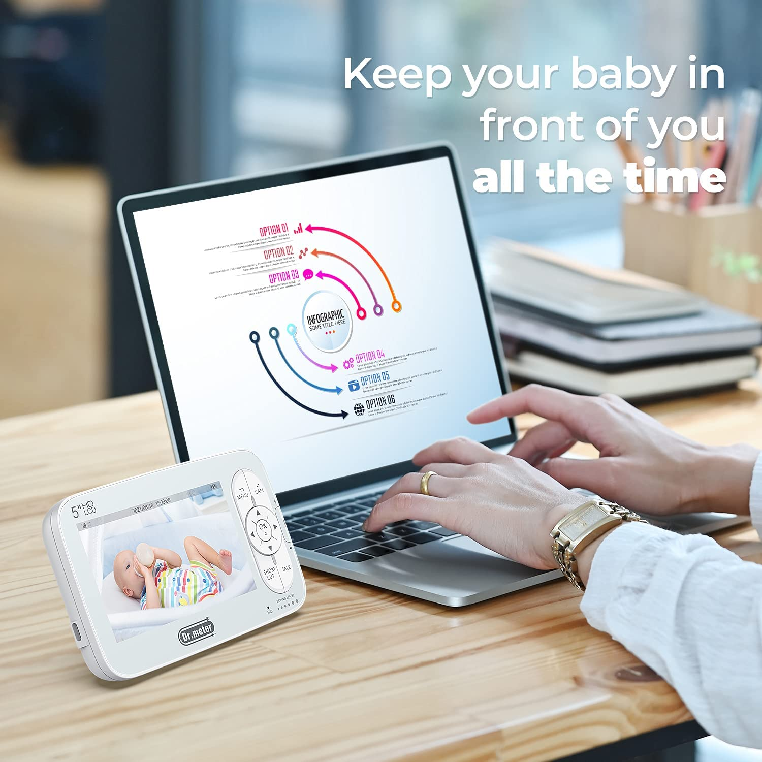 Baby Monitor with Camera and Audio, Video Baby Monitor with 5