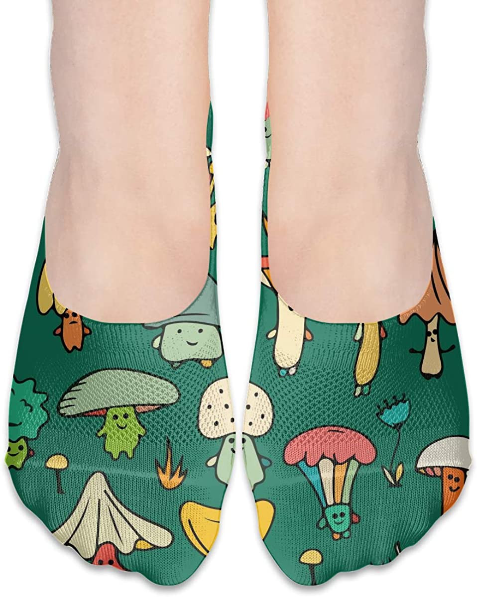 No Show Socks Women Men For Funny Cute Champignon Mushroom Flats Cotton Ultra Low Cut Liner Socks Non Slip