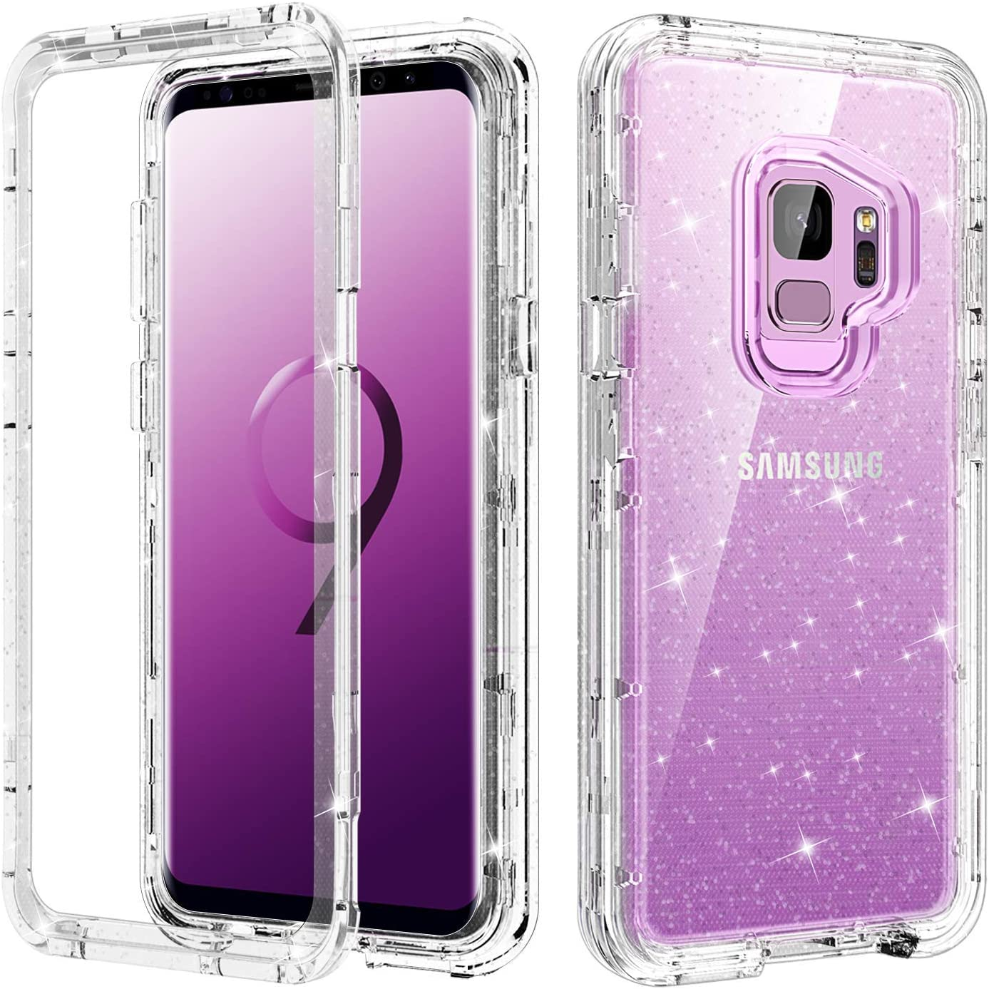 YINLAI Galaxy S9 Case,Clear Glitter 3 in 1 Heavy Duty Shockproof Hybrid Transparent Hard PC Soft TPU Bumper Full Body Protective Phone Case for Samsung S9 for Women Girls,Clear