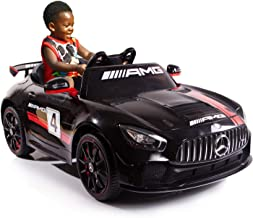 AuAg Kids Mercedes Benz AMG Big Electric Ride On Car Toys with Remote Control 12V Power Battery Power Wheels and 2.4G Radio Parental Control Toddler Drivable Cars 4 Wheels (Black)