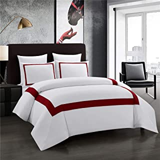 ALADDIN HOME Hotel Collection Duvet Cover Set King Burgundy Band Stitch Luxury Bedding Sets with Zipper Closure Ultra Soft (White-Burgundy Band,King)
