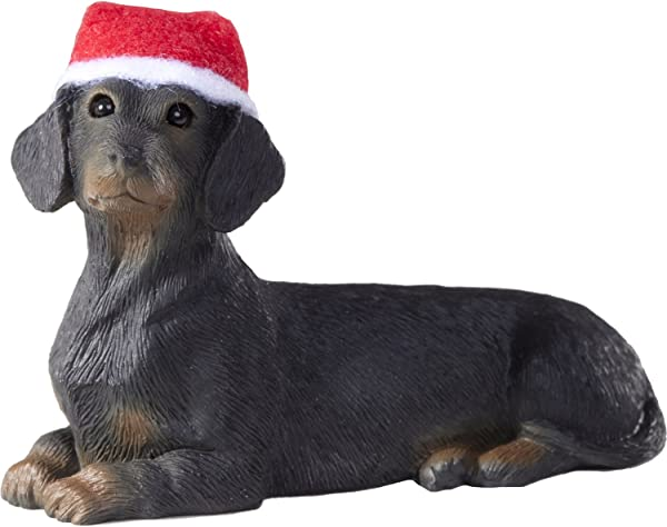 Sandicast Black Dachshund With Santa Hat Christmas Ornament