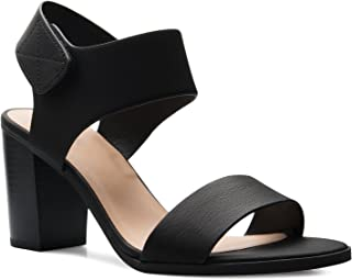 Olivia K Women's Peep Toe Sandal - Low Stacked Heel - Open Toe Ankle Heel Cutout Velcro Enclosure
