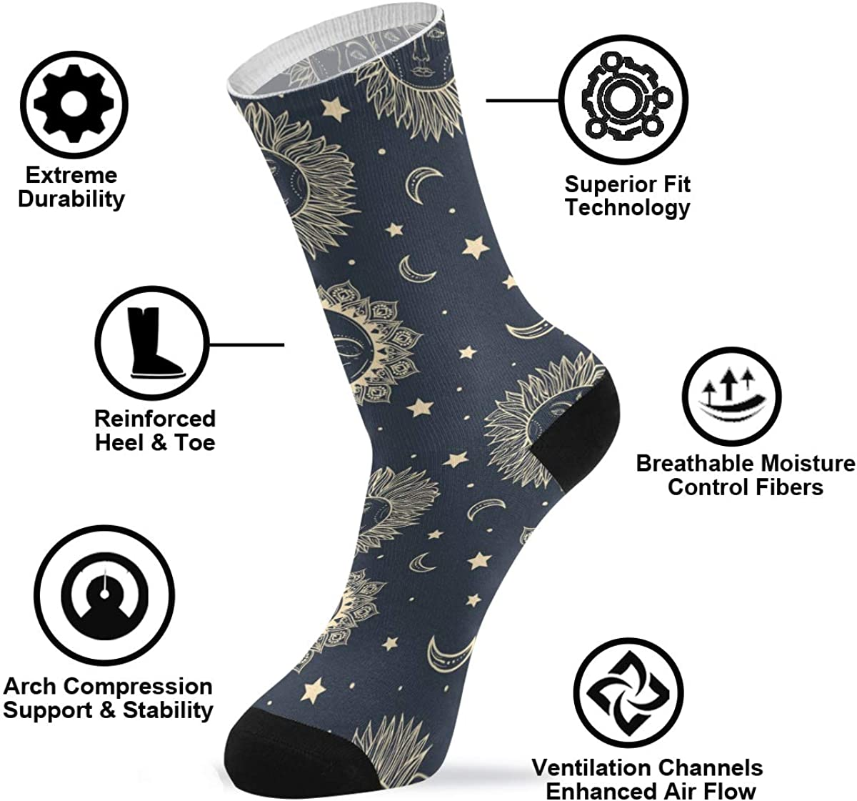 Crew Socks for Women Soft Swedish Dala Horse Folk Bohemian Athletic Socks