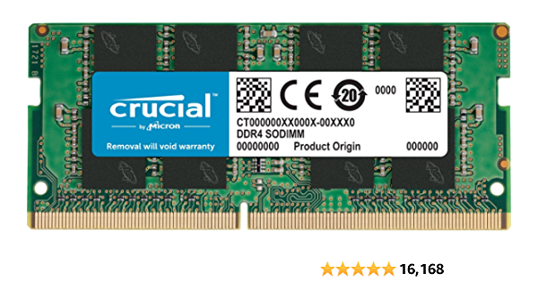 Crucial 4GB Single DDR4 2400 MT/S (PC4-19200) SR x8 SODIMM 260-Pin Memory - CT4G4SFS824A
