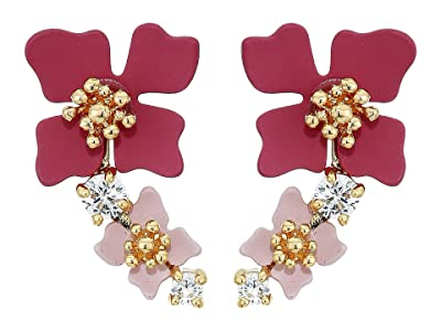 Vince Camuto Tapered Flower Earrings (Gold/Crystal/Soft Pink/Metallic Mauve) Earring