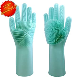 NGOut Magic Silicone Dish Washing Gloves with Scrubber for Washing Dishes Cleaning The House and Bathroom for Washing Fruits and Veggies, Pets, car. Very Heat Resistant- New Design Anti Slip Reusable