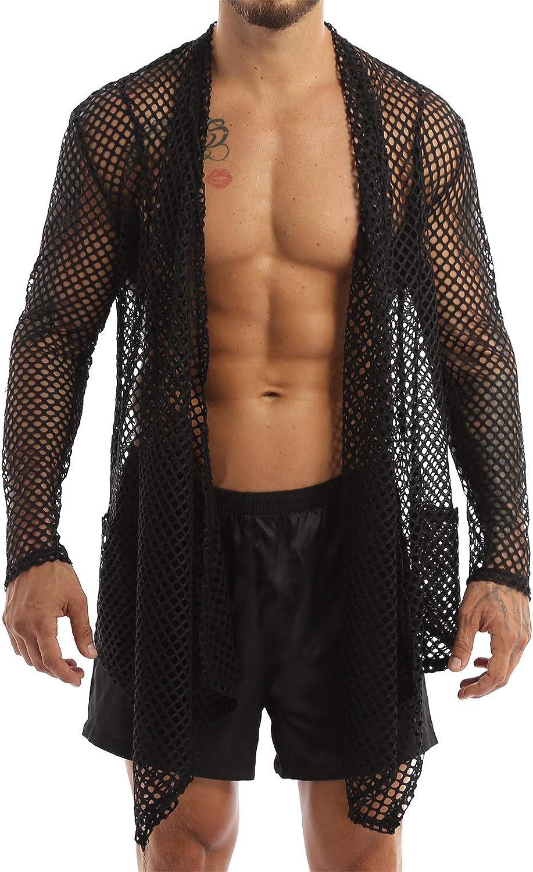 ACSUSS Men's Very popular! Fishnet Cardigan Ruffle Hi Cheap sale Shawl Collar Sleeve Long