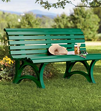 Plow & Hearth German-Made, Weatherproof Resin 3-seat Garden Bench, Ergonomic Design, Holds Up to 500 lbs, Weighs 46 lbs,