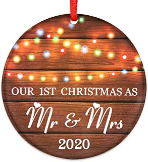 """Best SICOHOME Our First Christmas as Mr & Mrs 2020, 3"""" Rustic 1st Married Newlyweds Keepsake Ornament,Double-Side Printed,Farmhouse Collectible Present Review"""