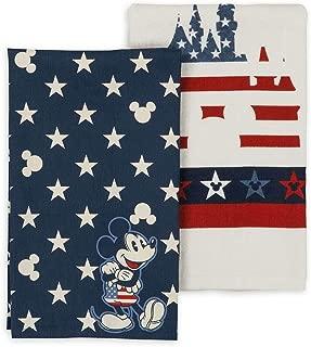 Disney Parks Mickey Mouse Castle Stripes Stars Americana Kitchen Towel Set of 2