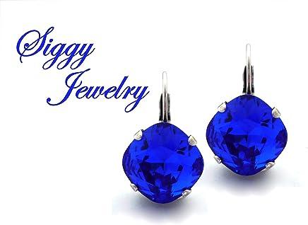 ba890033d Swarovski® Crystal Earrings, Majestic Blue, 12mm Cushion Cut, Royal Blue,  Drops